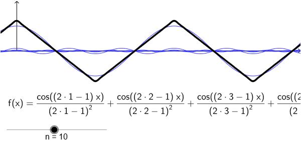 Dreieckschwingung aus harmonischen Schwingungen image source